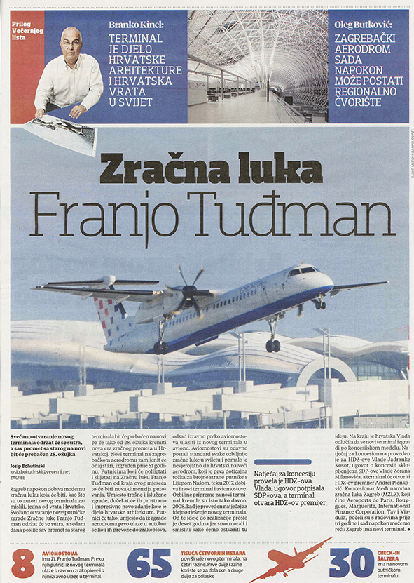 Articles Published About Franjo Tuđman Airport In Jutarnji And Večernji List
